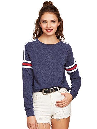 Romwe Womens Sweater Heathered Striped Raglan Long Sleeve Sport tee Sweatshirt