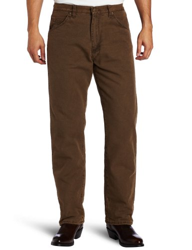 Wrangler Men's Rugged Wear Woodland Thermal Jean ,Night Brown,36x32