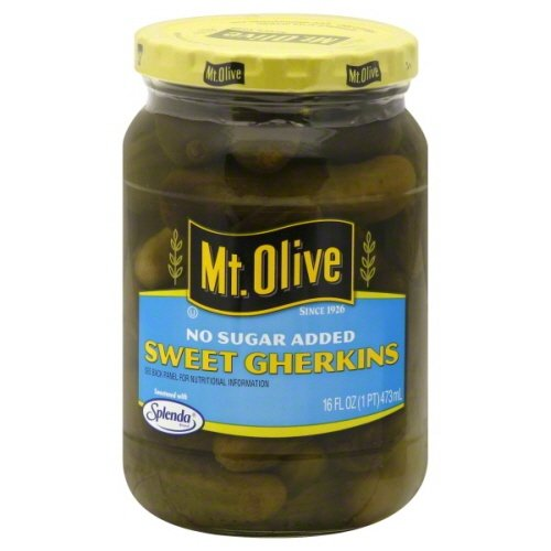 Mt. Olive Sweet Gherkins No Sugar Added 16 Oz (Pack of - Gherkin Pickles
