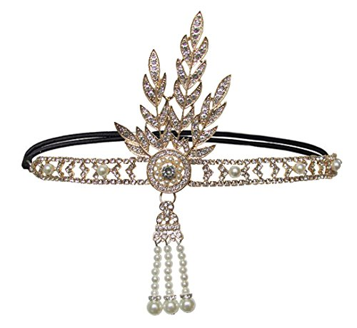 Art Deco 1920s Flapper Great Gatsby Leaf Wedding Bridal Tiara Pearl Headpiece Headband (A-Gold)