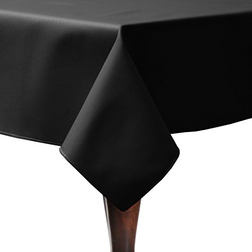 Ultimate Textile (3 Pack) Poly-cotton Twill 60 x 120-Inch Rectangular Tablecloth - for Restaurant and Catering, Hotel or Home Dining use, Black by Ultimate Textile