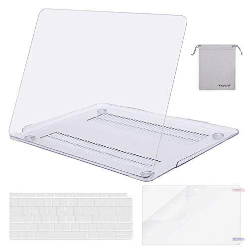 MOSISO MacBook Air 13 inch Case 2019 2018 Release A1932 with Retina Display, Plastic Hard Shell & Keyboard Cover & Screen Protector & Storage Bag Compatible Newest MacBook Air 13, Crystal Clear