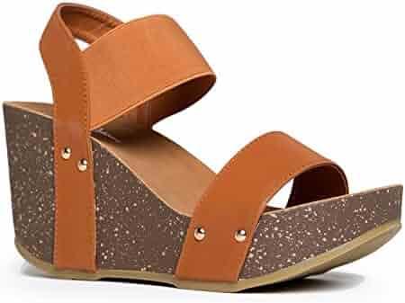563c4728f9b J. Adams Elastic Ankle Strap Platform Wedge Comfortable Open Toe Sandal  Casual Low Slip On