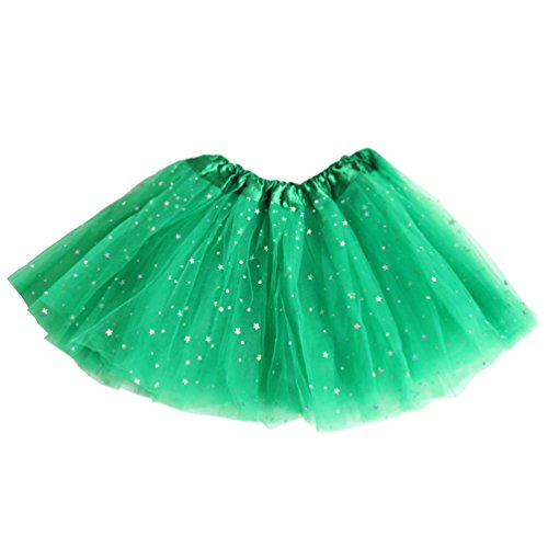 Csbks Girls Sparkle Layered Tulle Tutu Skirt Princess Ballet Dance Mini Tutus Green -