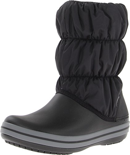 crocs Women's Winter Puff Boot Wom Snow Boot, Black/Charcoal