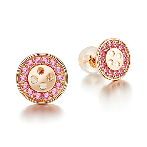 IUHA Round Button Pierce made with cubic zirconia Earring For Women Love Gift by IUHA