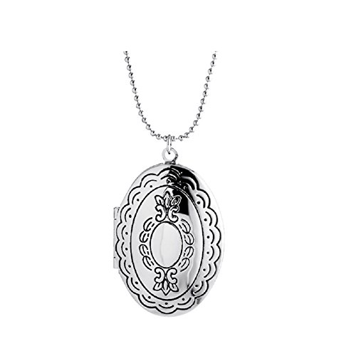 Child Oval Locket (Simple Heart Locket Necklaces Pendant Lockets Dog Paw for Women Girl that Hold Pictures (Oval Lace-like-1))