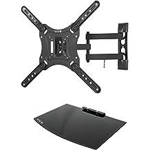 """VIVO Black TV Adjustable Tilt Wall Mount & Entertainment Shelf Floating AV, DVD Shelving for Screens up to 55"""" (MOUNT-VWSF1)"""