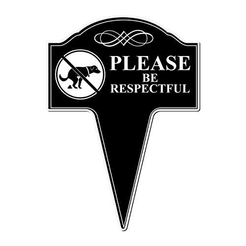 MRC Wood Products No Dog Pooping Please Be Respectful Aluminum Yard Sign with Stake Included 10x14 ()