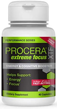 Procera XTF Extreme Focus Natural Focus Energy Pill Nootropic Brain Booster, Study Aid Preworkout Supplement Gingko, Rhodiola, Acetyl L Carnitine, Huperzine A, Natural Caffeine 40 Pills