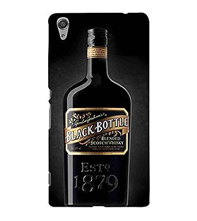 for sony xperia c black bottle printed designer back in