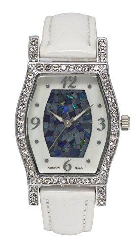Croton Women's Quartz Brass and Leather Casual Watch, Color:White (Model: CN207514WSOP) Croton Womens Quartz Stone
