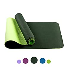 Non Slip Yoga Mat by Farland - Eco Friendly TPE Workout Exercise Mat,Anti-tear Hot Pilates Pad Mats in Home & Gym - 6mm Thick