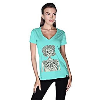 Creo Miss Coco Skull T-Shirt For Women - S, Green