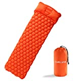 Cheap FARLAND Ultralight Air Sleeping Pad – Inflatable with Pillow Camping Mat Waterproof Anti-Slip for Backpacking, Traveling and Hiking Air Cell Design(Orange)