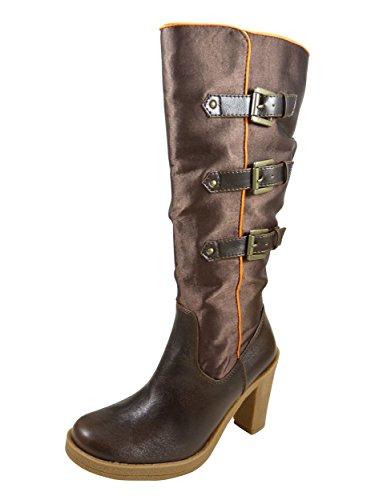 Botas de satén con dos hebillas y tacones altos goma de 9 cm, color naranja Marrón - marrón