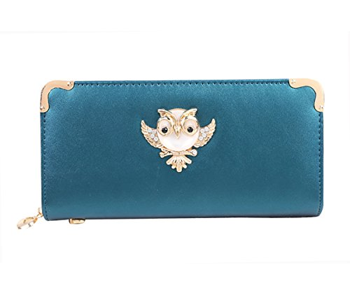 Winsterch Long Patent Leather Wallet Owl Zipper Card Holder Purse Clutch Organizer (Turquoise)