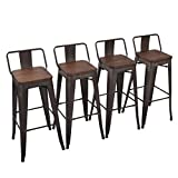 28 bar stools - Yongchuang Metal Counter Height Bar Stool for Indoor-Outdoor(Pack of 4) Wood Top Low Back, 30