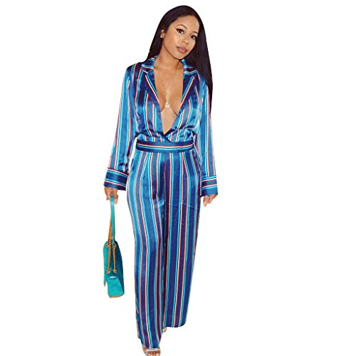 Kencey Women's Long-Sleeved Lapel Deep V Sexy Shirt Stripe Slim Wide Leg (Satin Jumpsuit)
