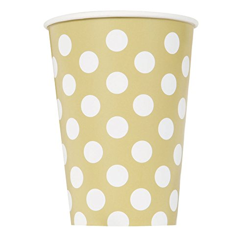 12oz Gold Polka Paper Cups