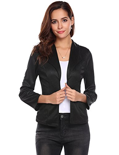 Pasttry Women's Casual Work Office Blazer Lapel Lightweight Open Front Cardigan Outwear