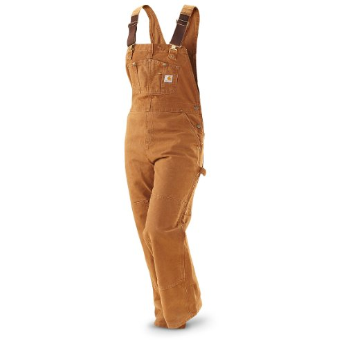 Women's Carhartt Unlined Sandstone Bib Overalls Brown, CARHARTT BRN, 18-30″, Outdoor Stuffs