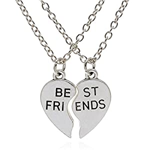 Amazon Com Best Friend Necklaces Silver Stainless Steel