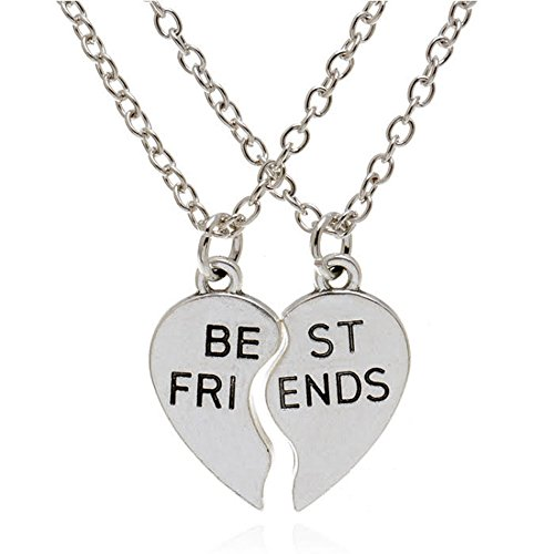 Epic Brand Best Friend Necklaces Silver Stainless Steel Engraved Broken Heart Friendship Pendants 20 inches (2 piece set) for Girl and Boy Bestfriend Gifts, Girls or Boys Bestfriends (2 Piece Heart Pendant)