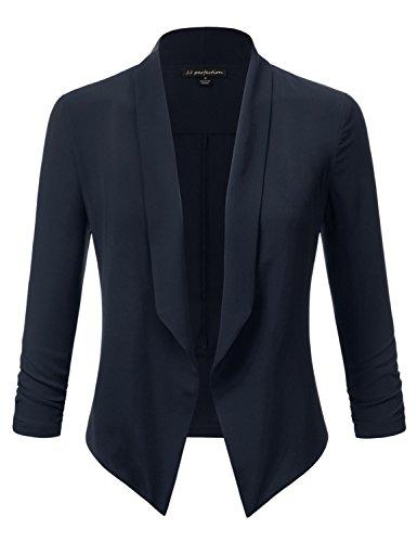 s Texture Woven Thin Chiffon Ruched Sleeve Open-Front Blazer Navy 3XL (Classic Silk Blazer)