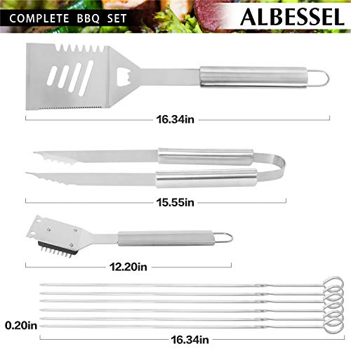 Albessel Professional BBQ Grill Tool Set,Stainless Steel BBQ Grill Set,Outdoor BBQ Grill Tool Set – 33 Pieces with Case
