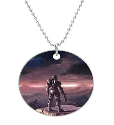 Halo-4 Custom Round Dog Tag with Neck Chain, Aluminum Oval Dog Tag Necklace Design