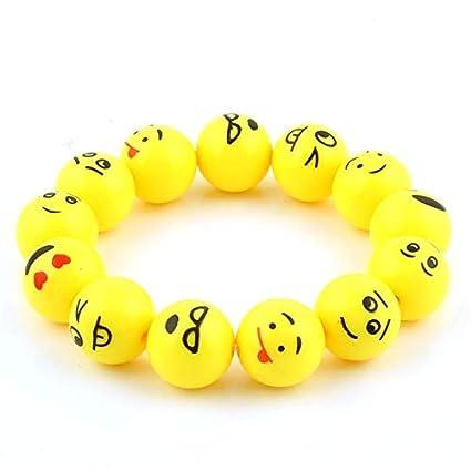 Gabcus Trendy Cute Yellow Cartoon Emoji Bracelet Acrylic Beads Lovely Stretch Emoji Bangles Boys Girls Children Jewelry Birthday Gifts Metal Color: 2pcs