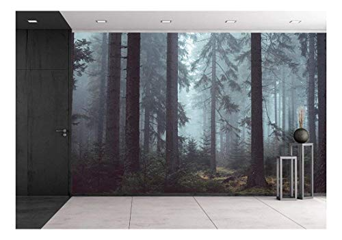 - wall26 Foggy Pin Forest - Removable Wall Mural | Self-Adhesive Large Wallpaper - 100x144 inches