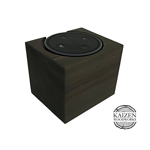 Echo Dot Wood Stand, Carbon Gray, 4x4x4, Distressed, Amazon Alexa Stand, Handmade in USA, Fits Echo Dot 2nd Generation, Decorative Wood Holder For Ale…