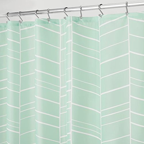 mDesign White Striped Soft Fabric Shower Curtain - 72