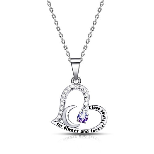 ivyAnan Jewellery Birthday Gift for Women I Love You Dancing Birthstone Amethyst Necklace Jewelry Gift for Women Girls Daughter Wife (February) by ivyAnan Jewellery