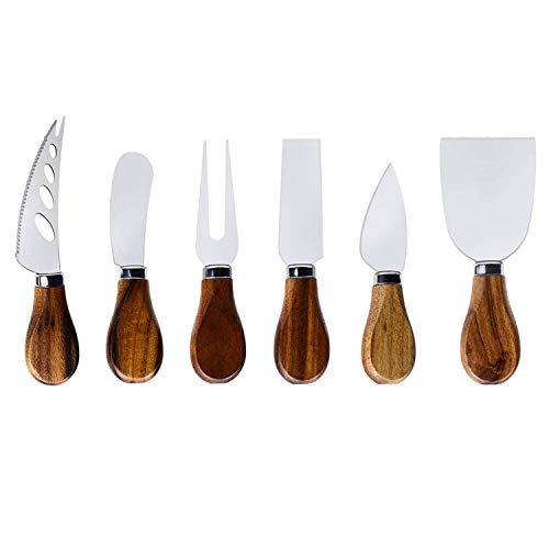 Cheese Knife Set-6 Pieces Cheese Knives with Bamboo Wood Handle Steel Stainless,Cheese Slicer Cheese Cutter for Charcuterie Boards and Cutlery Gift Set