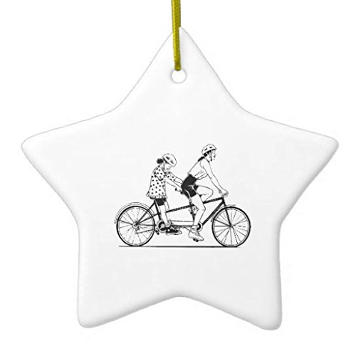 Valentine Herty Christmas Ornaments Tandem Bicycle Cycling Sports Holiday Tree Ornament Both Sides Star Ceramic Ornament (Holiday Ornament Bicycle)