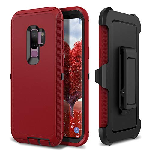 (S9 Plus Holster Case, WeLoveCase 4 in 1 Hybrid Heavy Duty Shockproof Military Grade Defender Full Body Rugged Armor Cover with Swivel Belt Clip Protective Case for Samsung Galaxy S9 Plus Red)