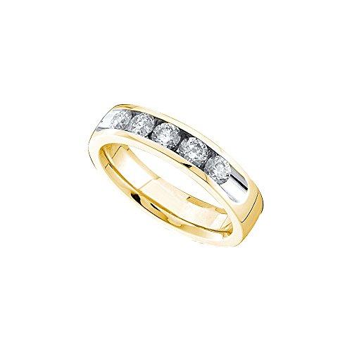 14kt Yellow Gold Womens Round Channel-set Diamond 5mm Wedding Band 1.00 Cttw by JawaFashion