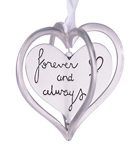 (Forever and Always Spinning Heart Christmas Ornament Brushed Pewter 3
