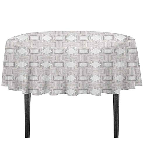Abstract Leakproof Polyester Tablecloth Optical Futuristic Pattern Design with Modern and Geometric Elements Dinner Picnic Home Decor D55.11 Inch Grey Beige and White ()