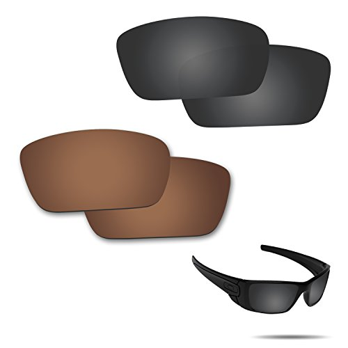 Fiskr Anti-saltwater Polarized Replacement Lenses for Oakley Fuel Cell Sunglasses 2 Pairs Packed (Stealth Black & Bronze Brown) (Sunglasses Replacement Lenses Bronze Mirror)