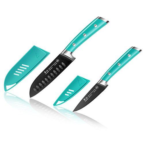 French Kitchen Knives (Cangshan S+ Series 1022117 German Steel Forged 2-Piece Titanium Coated Santoku Starter Knife Set with Sheaths, French Teal)