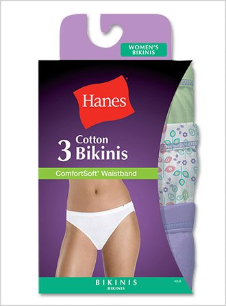 Hanes ComfortSoft Cotton Bikini 3-Pack 3-Pack, Assorted, 6 ()