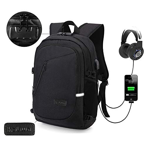 f29e11add433 Laptop Backpack, Kobwa Anti-Theft Business Slim Computer Bag with USB  Charging Port and Headphone Port for Women and Men, Fits Up to 15.6 Inch  Laptop ...