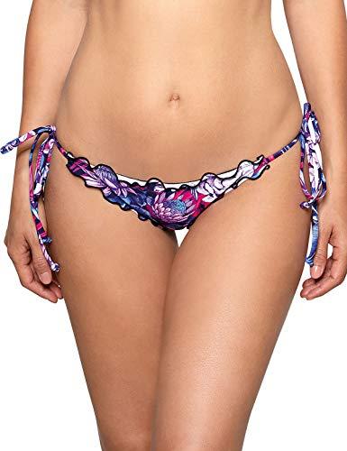 (RELLECIGA Women's Purple Floral Wavy Tie-Side Brazilian Bikini Bottom Size Medium)