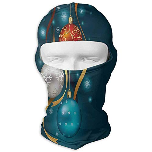 (Cold Weather Face Mask Windproof Christmas Vivid Classical Baubles with Ribbons and Different Patterns Abstract Petrol Blue Grey Red)