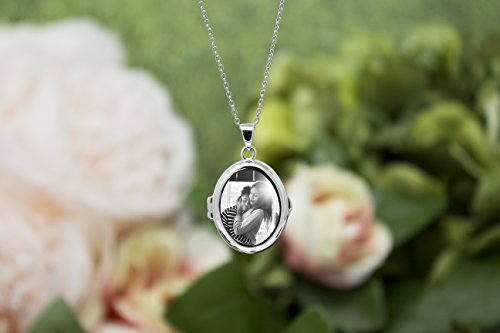 Sterling Silver-Glass-Custom Photo Locket Necklace-36-inch chain-The Ginny by With You Lockets by With You Lockets (Image #3)