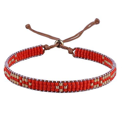 Waxed String Bracelet - C·QUAN CHI Colorful String Bracelets Woven Friendship Bracelet Handmade Braided Bracelet Bohemian Jewelry Women Gift for Best Friend